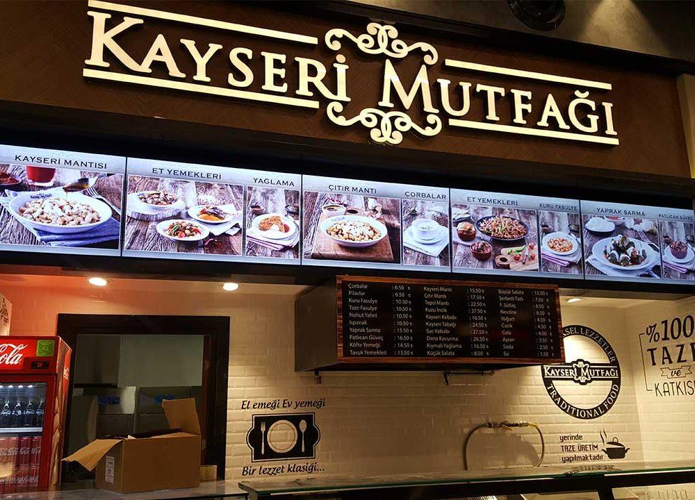 Kayseri Mutfağı Hilltown Avm' deki Yeni Mağazasında Menuboard Olarak Temas Teknoloji'yi Tercih Etti